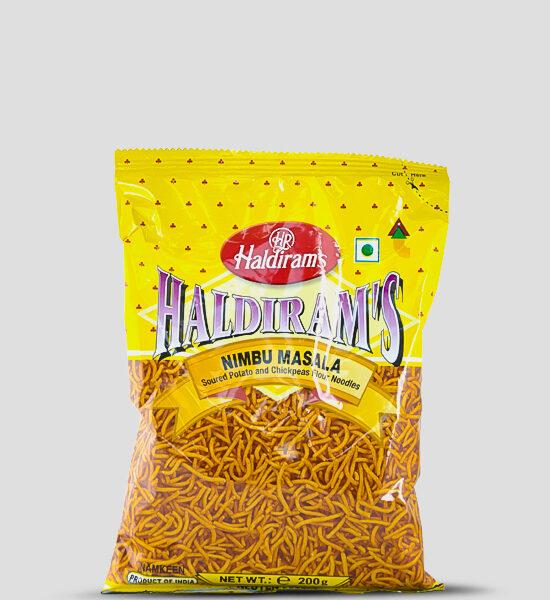 Haldiram's Nimbu Masala 200g Produktbeschreibung Soured Potato and Chickpeas Flour Noodles - Säuerlich-würzige Mischung aus Kartoffel und Kichererbsenmehlnudeln