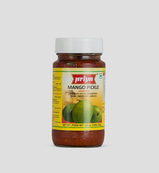 Priya, Mango Pickle, 300g Produktbeschreibung Mango Pickle in Oil without Garlic.