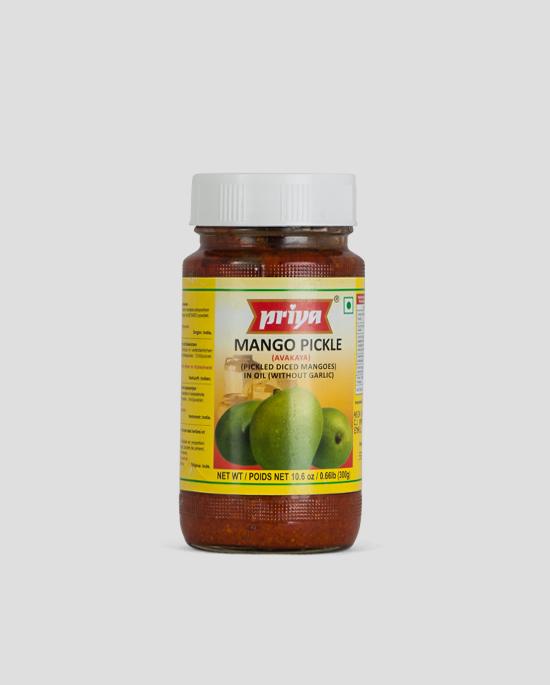 Priya, Mango Pickle, 300g Produktbeschreibung Mango Pickle in Oil without Garlic.