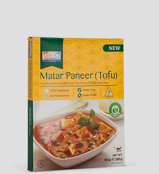 Ashoka, Aloo Matar Paneer (TOFU), 280g Produktbeschreibung Fertiggericht 100% Vegetarisch, Glutenfree, ohne Zusatzstoffe.