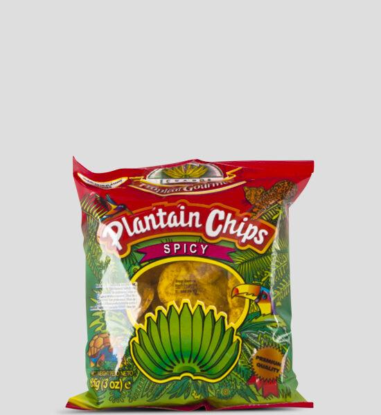 Tropical Bananenchips Spicy, 85g Produktbeschreibung Tropical Bananenchips aus ausgewählten reifen Kochbananen sind nicht nur in Lateinamerika & Afrika ein beliebter Snack für zwischendurch, sondern werden von den Europäern auch gerne verschlungen. Da sie natürlich gewürzt sind, knusprig und vorallem sich als Snack für zwischendruch eignen. Bananenchips scharf,Spicy
