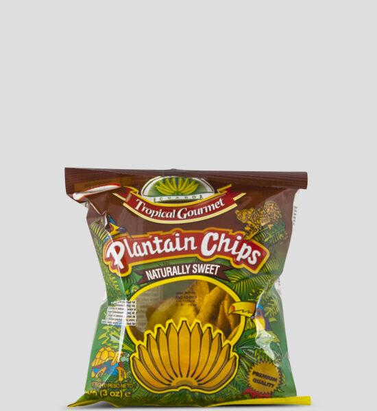Tropical Bananenchips süß, 85g Produktbeschreibung Tropical Bananenchips aus ausgewählten reifen Kochbananen sind nicht nur in Lateinamerika & Afrika ein beliebter Snack für zwischendurch, sondern werden von den Europäern auch gerne verschlungen. Da sie natürlich süß sind, ohne Salz, knusprig und vorallem sich als Snack für zwischendruch eignen. Bananenchips süß, Naturally Sweet