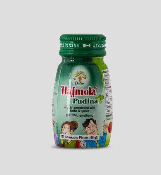 Hajmola, Pudina, 66g Produktbeschreibung Hajmola Pudina (Minze) sind Tabletten, die man nachdem essen einnimmt um die Verdauung anzukurbeln.