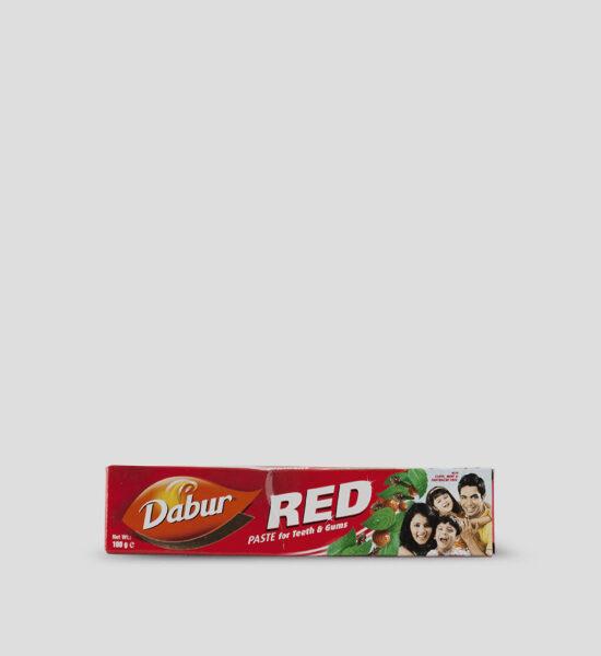 Dabur, Red Toothpaste, 100g Produktbeschreibung Die Dabur Red Zahnpasta ist eine vegane Zahncreme, die gegen viele Zahnprobleme, wie Zahnschmerzen, Zahnfleischerkrankungen, Kariesbildung etc. hilft. Zudem verhelfen die natürlichen Zutaten und Kräuter zu frischem Atem und beseitigen den Mundgeruch.