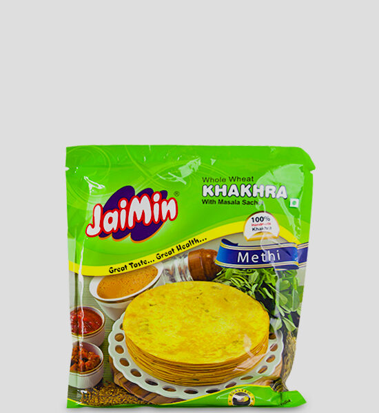 Jaimin Khakhra Methi 200g Produktbeschreibung Whole Wheat Khakhra with Masala Sachet. Cooked for taste and Health, Khakhra, the Indian crisps are hand made and truly excellent.