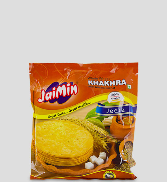 Jaimin Khakhra Jeera 200g Produktbeschreibung Whole Wheat Khakhra with Masala Sachet. Cooked for taste and Health, Khakhra, the Indian crisps are hand made and truly excellent.