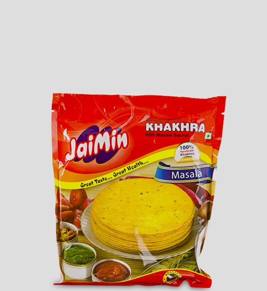 Jaimin Khakhra Masala 200g Produktbeschreibung Whole Wheat Khakhra with Masala Sachet. Cooked for taste and Health, Khakhra, the Indian crisps are hand made and truly excellent.