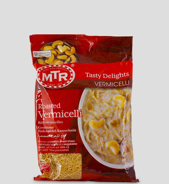 MTR Roasted Vermicelli 440gg Produktbeschreibung gerösteter Weizengrieß - MTR Roasted Vermicelli is a traditional delicacy and is extruded from Hard Wheat Flour and roasted to the desired taste. It can be boiled with milk and sugar or cream to make desserts of different traditional taste. Roasted MTR Vermicelli makes the authentic never-ending temptation that vermicelli can be.