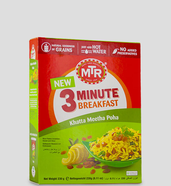 MTR 3 Minute Khatta Meetha Poha 230g Produktbeschreibung A flavourful twist to the classic Poha, ready in 3 minutes with just hot water.