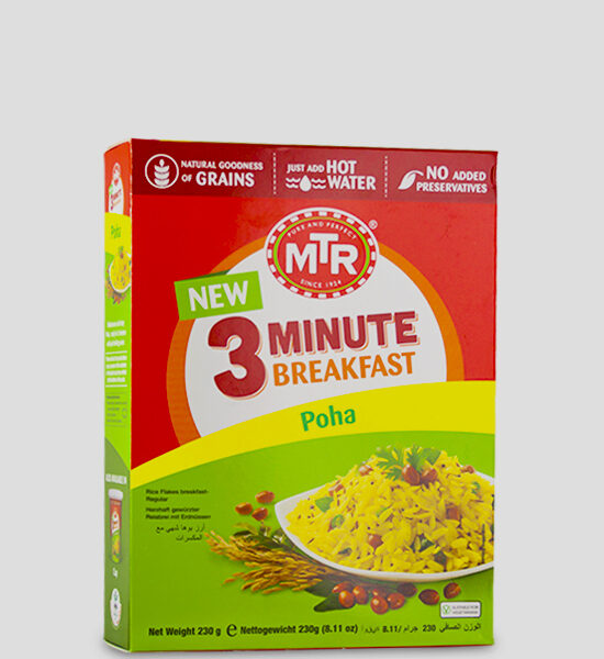 MTR 3 Minute Poha 230g Produktbeschreibung A flavourful twist to the classic Poha, ready in 3 minutes with just hot water.