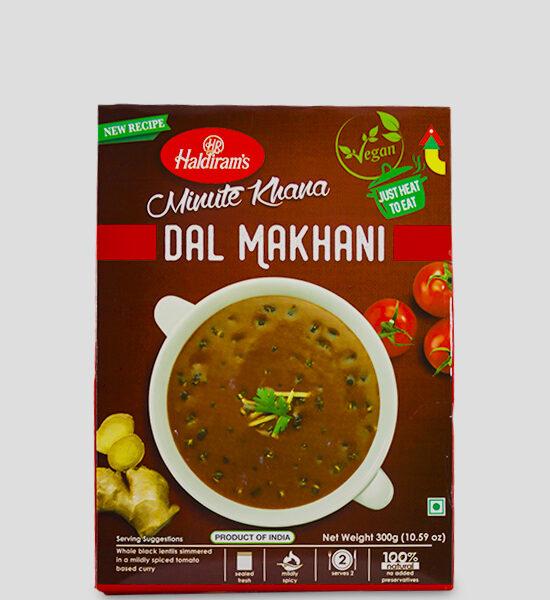 Haldirams Just Heat to Eat Dal Makhani 300g Produktbeschreibung Fertiggericht - ganze schwarze Linsen in einer milden gewürzten Tomatencurry gekocht. Heat & Eat Dal Makhani from Haldirams - Whole black lentils simmered in a mildly spiced tomato based curry.