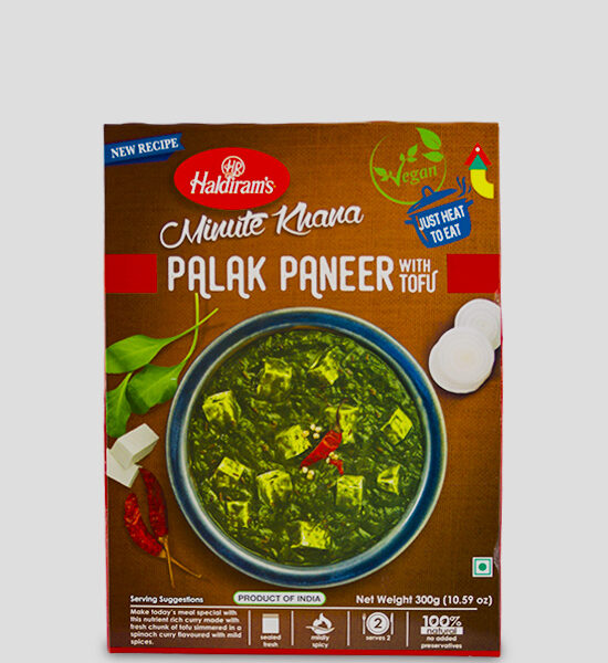 Haldirams Just Heat to Eat Palak Paneer with Tofu 300g Produktbeschreibung Fertiggericht - Curry mit frischen Stücken Tofu gekocht in einem Spinat Curry mit milden Gewürzen. Heat & Eat Palak Paneer with Tofu from Haldirams - Curry made with fresh chunk of tofu simmered in a spinach curry flavoured with mild spices