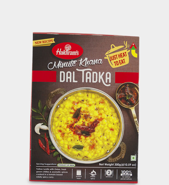 Haldirams Just Heat to Eat Dal Tadka 300g Produktbeschreibung Fertiggericht - Gelbe Linsen in leicht scharfen Tomatencurry gekocht Heat & Eat Dal Tadka from Haldirams - Yellow Lentils with Onion, fresh green Chillies & aromatic spices cooked in a tomato based mildly spicy curry.