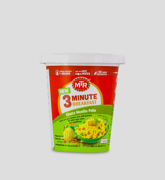 MTR 3 Minute Poha 80g CUP Produktbeschreibung A flavourful twist to the classic Poha, ready in 3 minutes with just hot water.