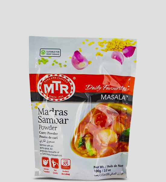 MTR Madras Sambar Powder 100g Produktbeschreibung Madras Sambar Powder - Spice up your dish with this authentic sambar powder.