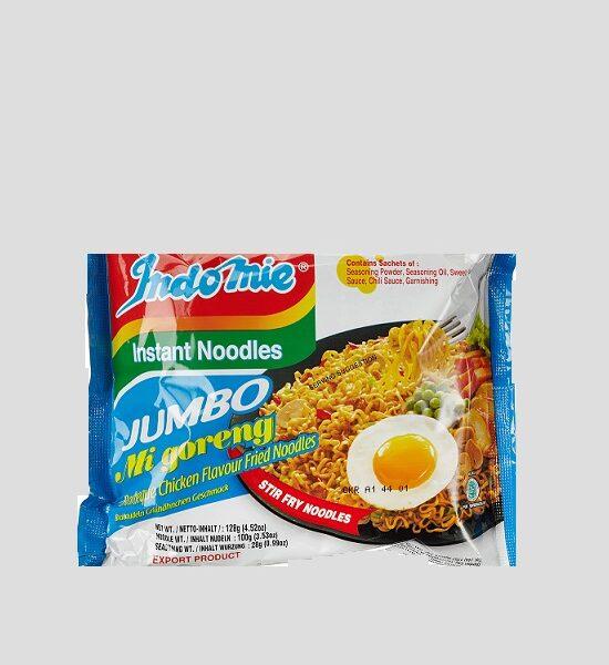 Indomie Mi Goreng Jumbo Chicken 128g Produktbeschreibung Classic Instant Noodle - Mi Goreng mit Hähnchen Geschmack