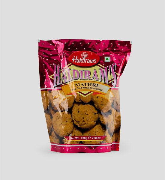Haldiram's, Mathri, 200g Produktbeschreibung Namkeen Spicy Fried Wheat Flour Snack. Würzig frittierte Weizen Snacks.