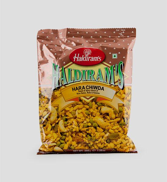 Haldiram's, Hara Chwida, 200g Produktbeschreibung Namkeen Sweet & Spicy blend of Rice Flakes, Nuts & Raisins. Würzig & Süßemischung aus Reisflakes, Rosinen & Nüssen.