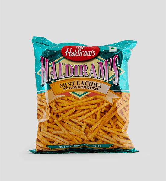 Haldiram's, Mint Lacha, 200g Produktbeschreibung Namkeen Mint Lacha Mint Flavour Potato Sticks, Kartoffelsticks mit Minzgeschmack