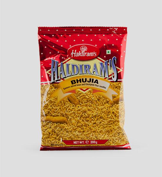 Haldiram's, Bhujia, 200g Produktbeschreibung Namkeen Savoury Spiced Tepary Bean Flour Noodles, Pikant gewürzte Nudeln.