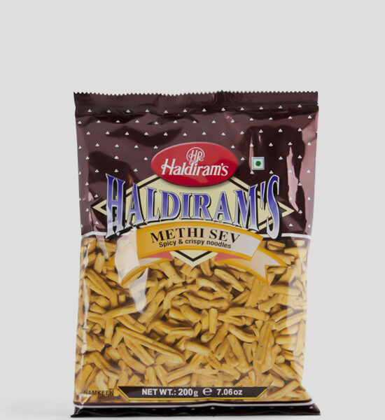 Haldiram's, Methi Sev, 200g Produktbeschreibung Namkeen Spicy & Crispy Noodles, Würzig & Knusprige Nudeln